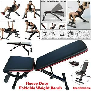 Foldable-Weight-Bench-Adjustable-Home-Gym-Workout-Barbell-Lifting-Fitness-Black