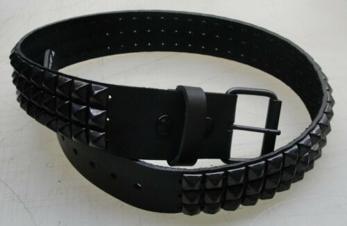 """Manzoor Genuine Leather Belt with 3 rows Black 1//2/"""" Pyramid Studs Made in U.S.A."""