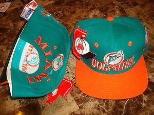 MIAMI DOLPHINS AJD 80 S MARINO DEADSTOCK 90 S HAT CAP VINTAGE ... 89e909afb