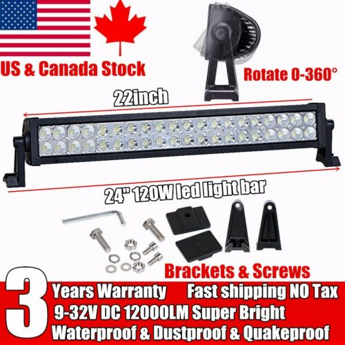 22 inch 120W Led Work Light Bar Combo Beam Offroad Truck Driving Jeep SUV 20 24