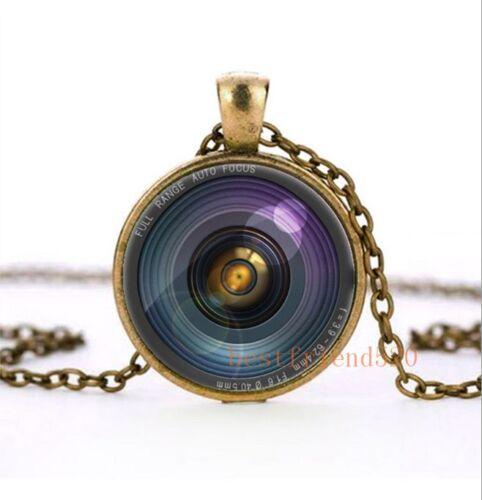 Secret hidden camera lens illusion Cabochon Glass Silver Pendant Necklace