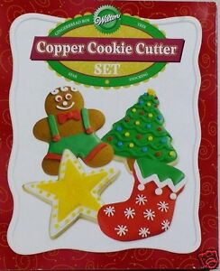 Wilton-Christmas-Copper-Cookie-Cutter-4pc-Set-Gingerbread-Star-Stocking-Tree-New