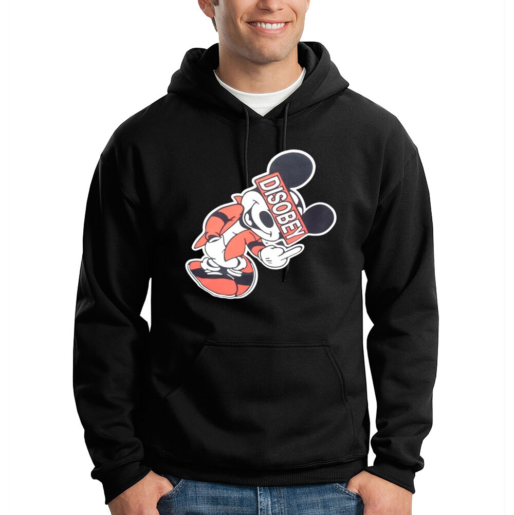 Disobey Cartoon Mouse Giving The Finger Bird Funny Hooded Sweatshirt Hoodie