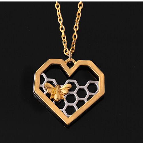 Elegante Panal Abeja Animal Delicado Collar De Corazón Joyería Cadena Regalos uno
