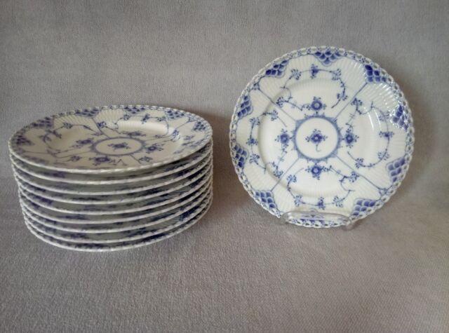 1  BREAKFAST  PLATE  ROYAL COPENHAGEN  BLUE  FLUTED  FULL LACE