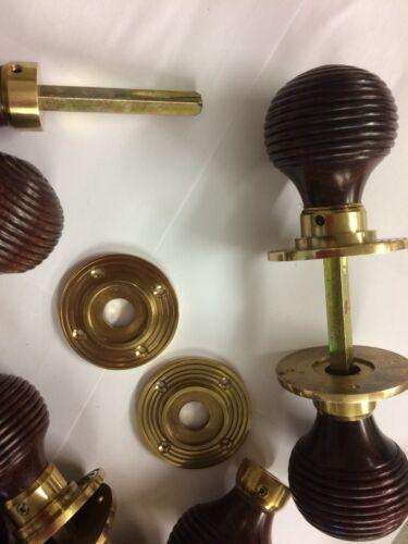 6x lots Rosewood Beehive door handles,REEDED Victorian antique beehive DOOR Knob