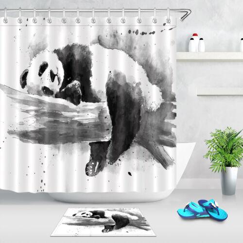 Watercolor Panda Drawing Fabric Shower Curtain Bathroom Waterproof 12 Hooks