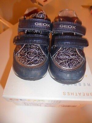 Geox Schuhe Baby Mädchen Gr. 22 dunkelblau silber Rosen Klettverschluss Laufen | eBay