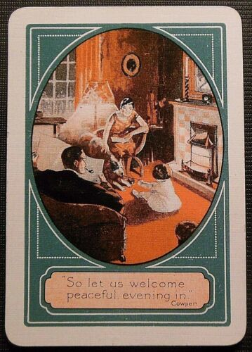 ART DECO Family//Dog//Child//Living Room-UK GAS Advertising Wide Swap Playing Card