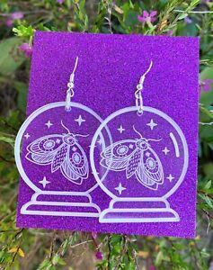 Crystal-Ball-Earrings-with-Moth-Engraved-Clear-acrylic-earrings