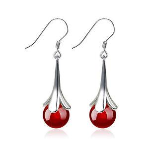 Silver Burgundy Red Agate Teardrop Dangling Water Drop Wedding Earrings E1104