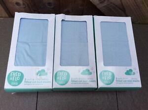"""""""new"""" Fred & Flo Trois Pack X2 Doux & Confortable Jersey Drap Housse Lit Bébé Feuilles. Baby Blue-afficher Le Titre D'origine"""