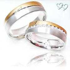 2 Trauringe Eheringe Partnerringe Verlobungsringe 925 SILBER +Gravur +Etui C282