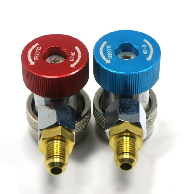 CSLU 1 Pair Freon R134A H//L Auto Car Quick Coupler Connector Brass Adapters Air Conditioning Refrigerant Adjustable AC Manifold Gauge