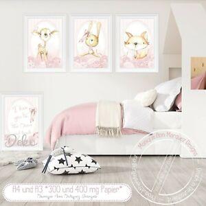 Kinderzimmer-Bilder-Babyzimmer-Poster-Waldtiere-Reh-Hase-amp-Fuchs-ROSA-A4-SET-46
