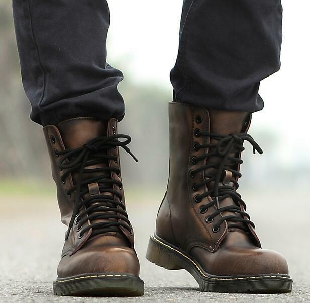 Mens Military Riding Lace Up Flat Oxford Ankle Boots shoes Vintage Combat New SZ