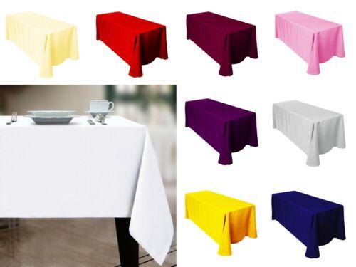 """Polyester Nappe 60 X 84/"""" rectangulaire parti événement Table couvre Solide Couleur"""