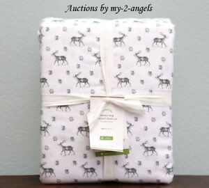 Pottery Barn Snowy Stag Organic Flannel Queen Sheet Set