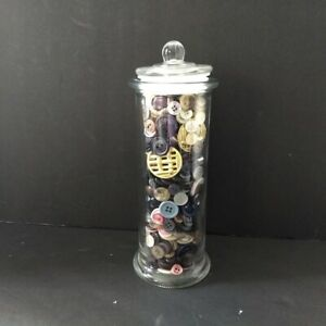 Vintage Button Jar Lot Glass Apothecary Jar Mixed Lot Buttons Sewing
