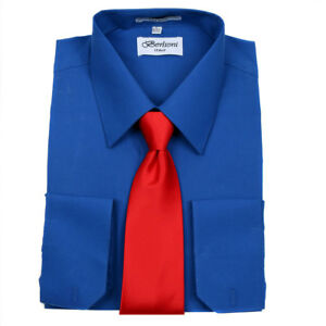 Men-039-s-Berlioni-Business-French-Cuff-Tie-Set-Royal-Blue-Dress-Shirt-And-Red-Tie