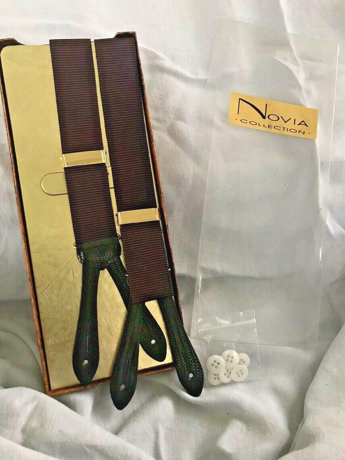 Novia Collection Suspenders Burgundy Black Adjustable Button Style NIB