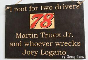 Martin-Truex-Jr-Wrecks-Joey-Logano-Rare-Driver-Sign-Racing-Bar-Man-Cave-Retro