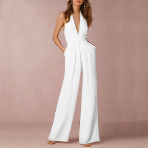 be32da20999d Women Elegant Backless Halterneck High Waist V Neck Pockets Wide Leg ...