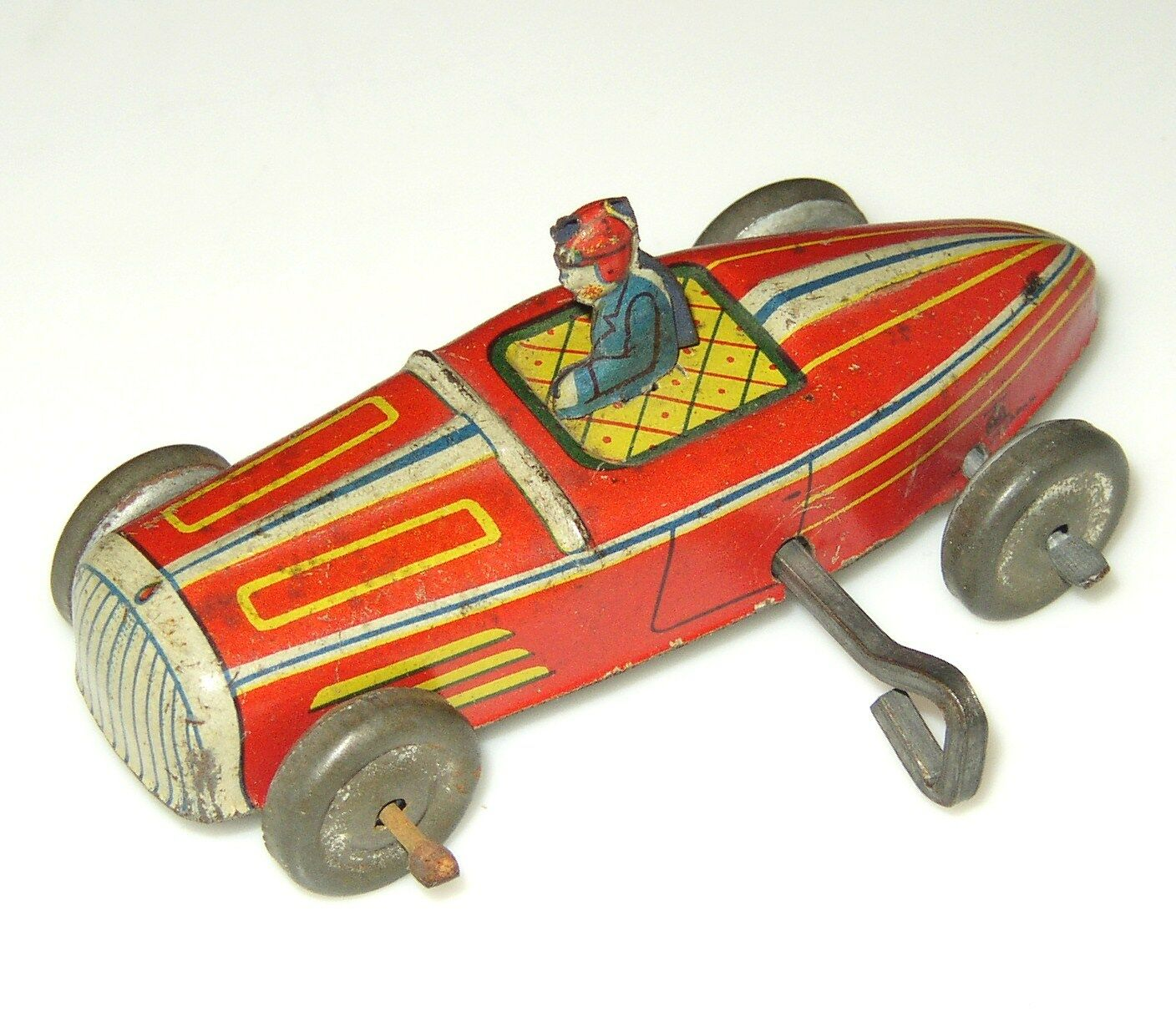 PREWAR JAPAN WIND-UP TIN LITHO RED RACER RACE CAR PINSTRIPES, DRIVER 3.75  RARE