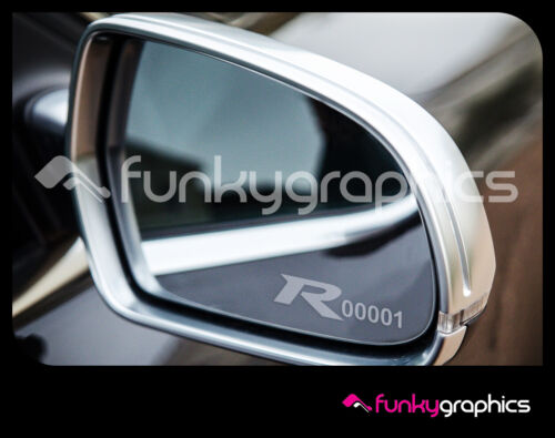 HONDA CIVIC TYPE R FK2 NUMBERED LOGO MIRROR DECALS GRAPHICS x3 IN SILVER ETCH