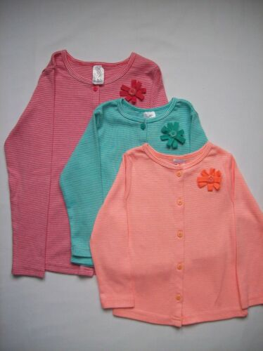 BNWOT Girls Striped Jersey Cotton Cardigan with Rosette Green Red Orange 2-5 Yrs