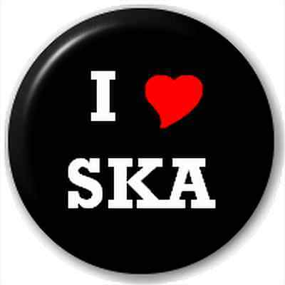Small 25mm Lapel Pin Button Badge Novelty I Heart Love Ska