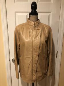Saks Fifth Avenue Women's Vintage Leather Coat Jacket Tan Large