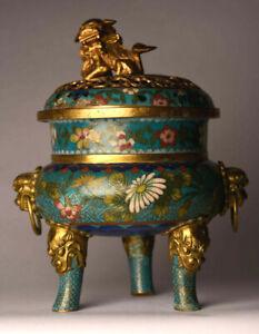 Antiker-Weihrauchbrenner-China-19-Jhd-Bronze-Gold-Cloisonne-19-cm-antique-B70a