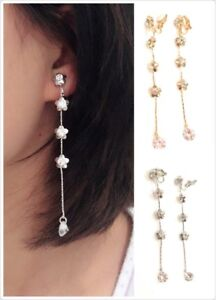 Long-Flower-Liquid-Chandelier-Tassel-Dangle-CLIP-ON-Earrings-Non-Pierced-Ears