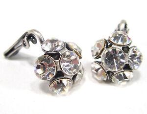 SoHo-Ohrringe-Ohrclips-Blume-geschliffene-Kristall-crystal-clips-klar-altsilber