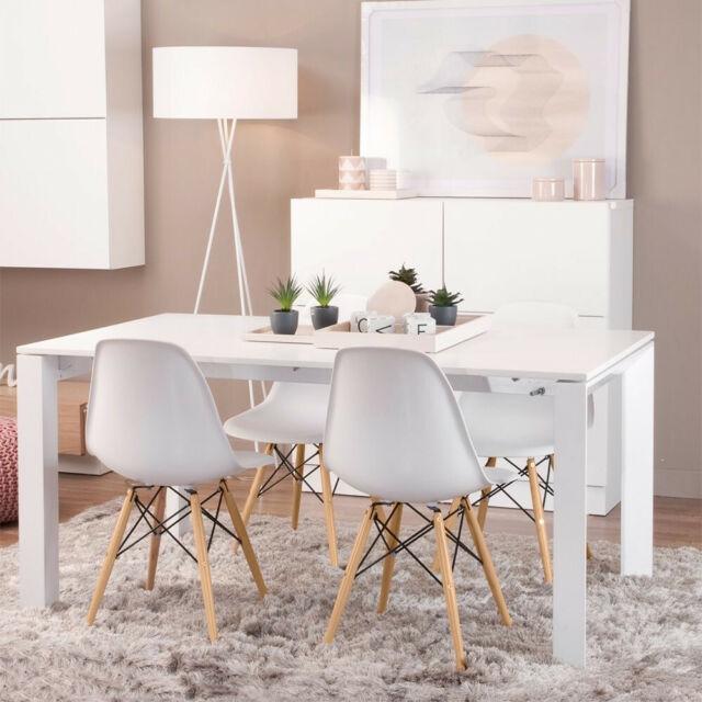 Tremendous Set Of 4 Mid Century Modern Dsw White Dining Side Chair Wood Legs White Machost Co Dining Chair Design Ideas Machostcouk