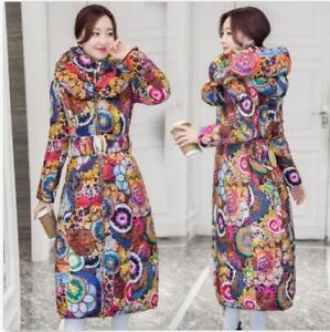 Belt Jakke Floral Coats Kvinder Lang Winter Slim Hooded Down Outwear Trench qnZ55O