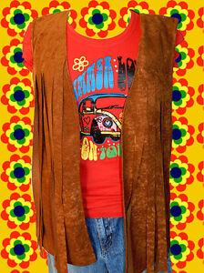38-Hippie-Woodstock-Damen-Fransen-Weste-70er-Jahre-Easy-Rider-braun-Gr-36-38