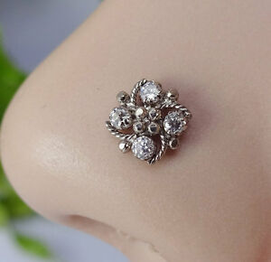 Crock-Screw-Nose-Pin-Tiny-Flower-Indian-Nose-Ring-Body-Jewelry-CZ-black-Nose-Pin