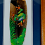 miniature 1 - Hand Painted Folk Art Feather Green Tree Frog Brown Wood Frame Matted Signed