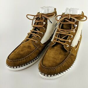 CHRITIAN-LOUBOUTIN-Rare-Brown-Suede-Studded-Spiked-Moccasin-Boots-Size-45-US-12