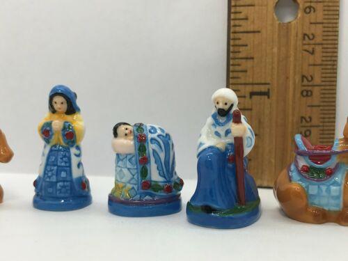 Blue Folk Art NATIVITY SET French Feves Figurine 10 pcs Porcelain Miniature