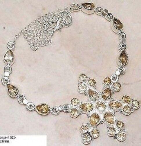 Superbe bijou bijou bijou collier argento pur 925 pierre citrine enchassé style ancien A18 410f9f