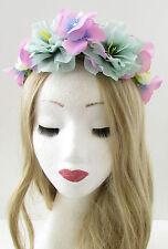 Turquoise Pink Rose Flower Hair Crown Headband Sugar Skull Halloween Wreath B07