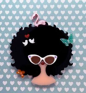 Acrylic-Brooch-Big-Hair-Lady