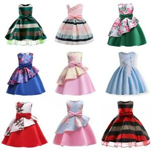 3f86e5c22c2 Baby Kids Girls Dress Toddler Princess Party Pageant Summer Floral ...