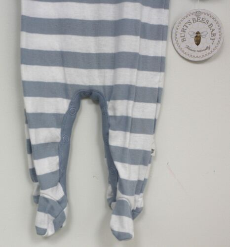Burts Bees Baby Organic Cotton Outfit long sleeve White Blue wide striped footed