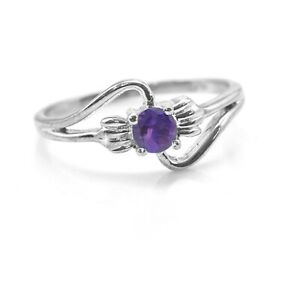 925-Sterling-Silver-Ring-Natural-Purple-Amethyst-Gemstone-Size-4-11