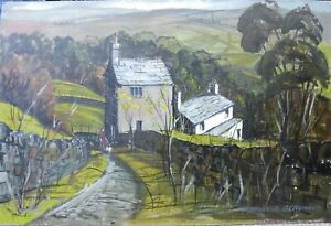 Maurice-A-Greenwood-RCA-Acrylic-painting-board-mixed-media-Welsh-Art-Cottages