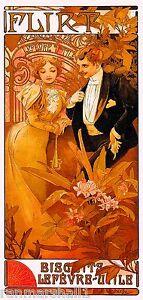 Flirt Biscuuits Lefevre Vintage French Nouveau France Poster Print Advertisement
